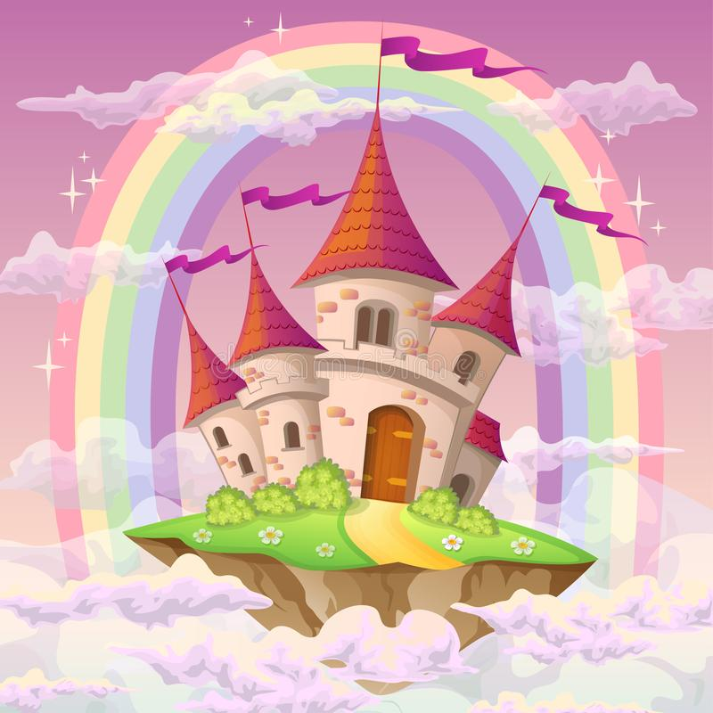 Fantasy flying island with fairy tale castle and rainbow in clouds vector illustration