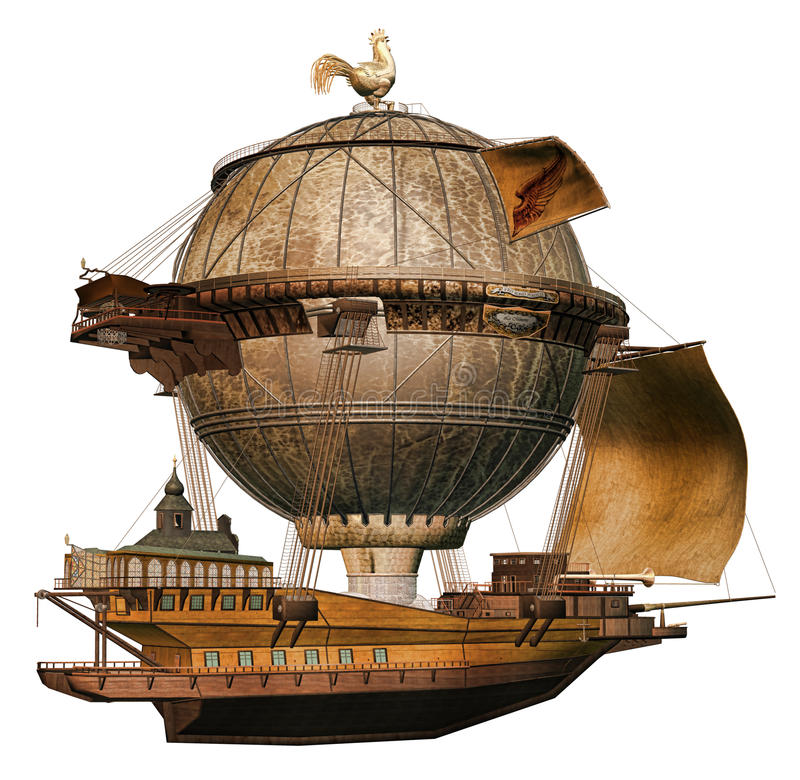 Fantasy flying ship stock illustration