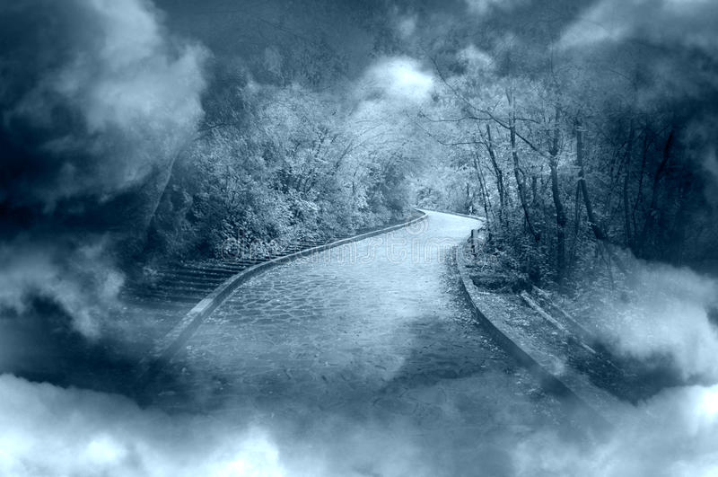 Fantasy footpath. Fog and clouds with blue fantasy footpath royalty free stock images