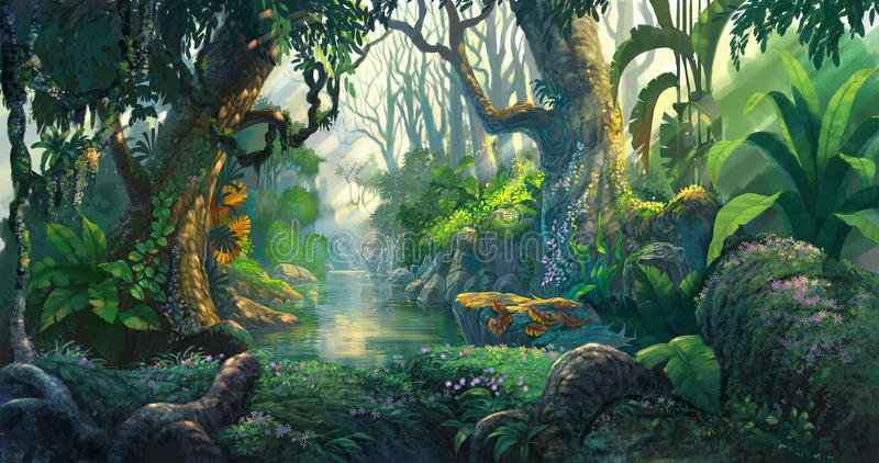 Fantasy forest. Background illustration painting