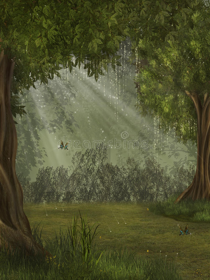 Fantasy forest. With butterfly 3D rendering stock illustration