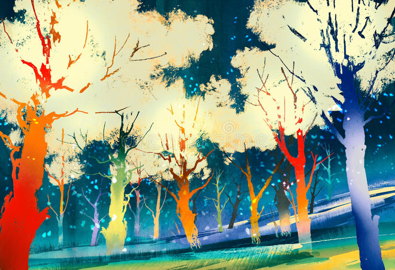 Fantasy forest with colorful trees stock illustration