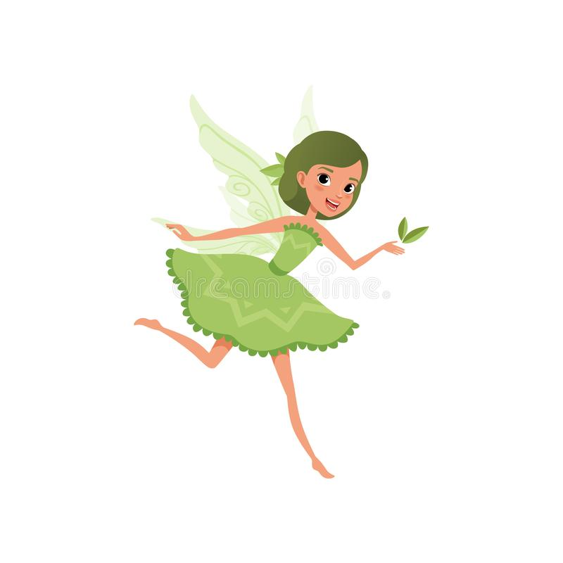 Fantasy forest fairy with green hair in little fancy dress. Imaginary fairytale character in action. Cute smiling girl royalty free illustration