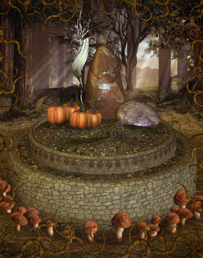 Fantasy forest with mushrooms stock illustration