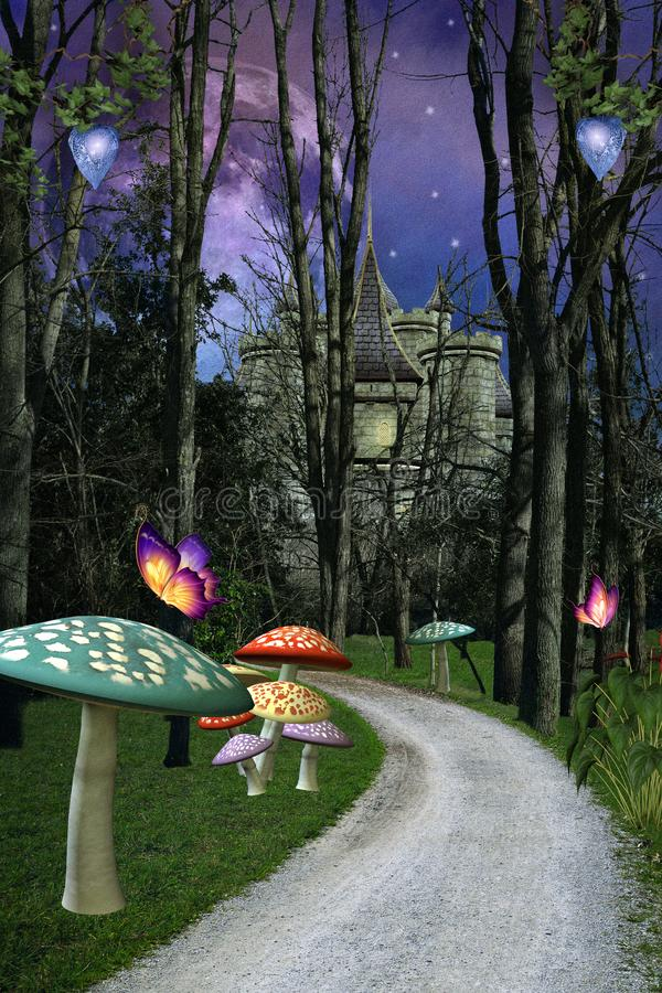 Fantasy forest road with magic mushrooms. Enchanted pathway in the forest taking to a magic castle – 3D illustration vector illustration