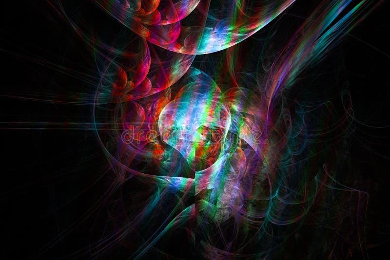 Fantasy, fractal, creative space vibrant colorful , glow firework modern background, energy templaterendering. Fantasy, fractal space  creative background stock illustration