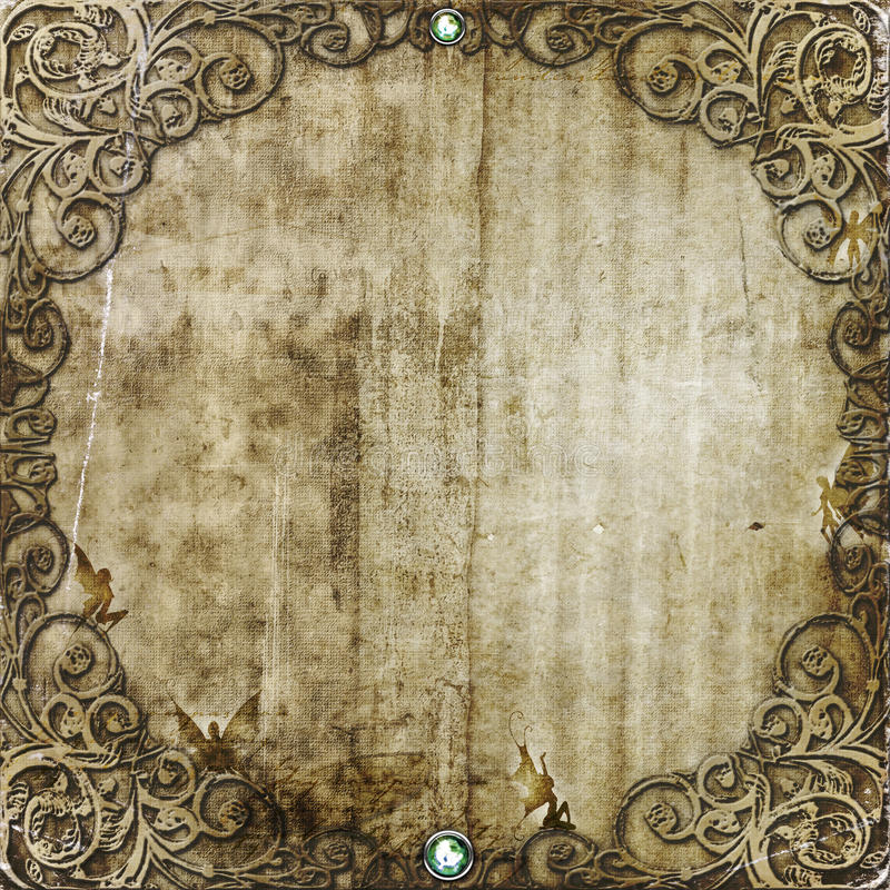 Fantasy Frame. Ornate, grungy frame , earthy tones, faeries hiding