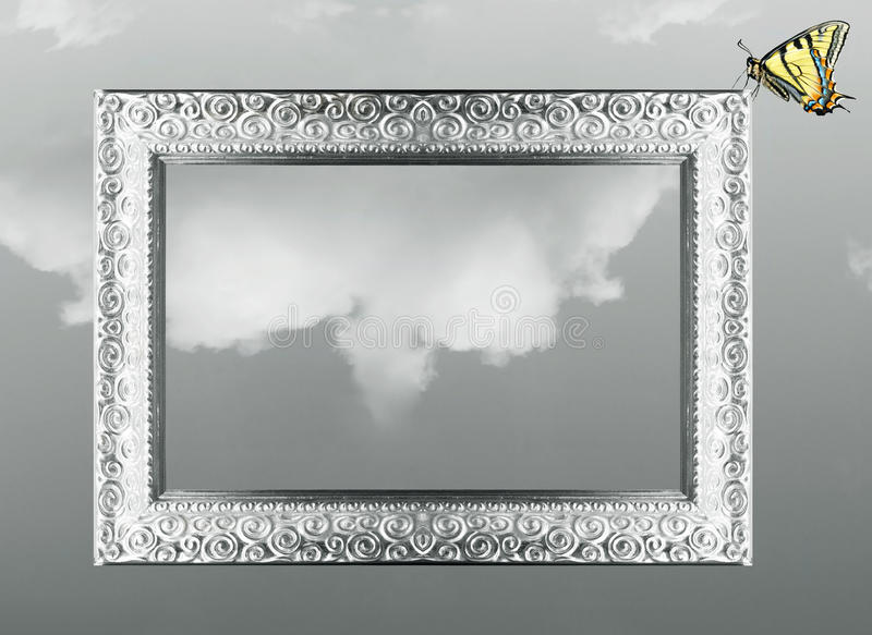 Fantasy frame and butterfly stock illustration