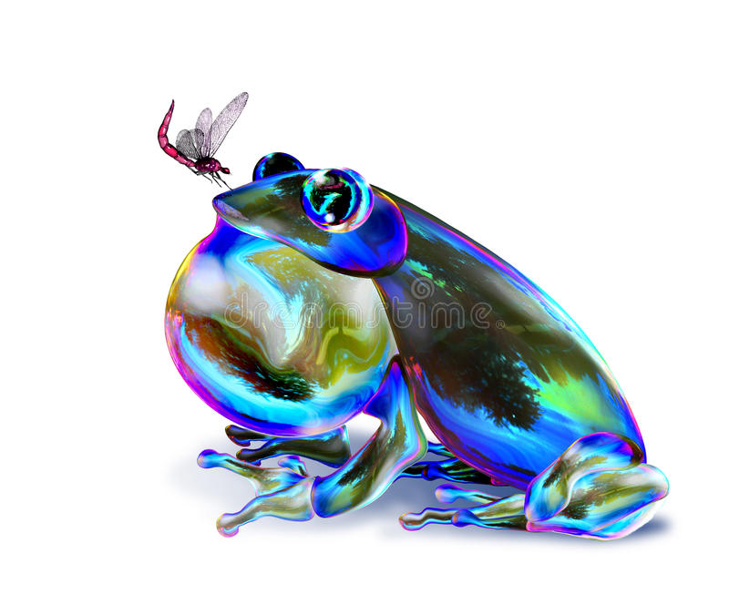 Fantasy frog. Hunting insect isolated on white background royalty free illustration