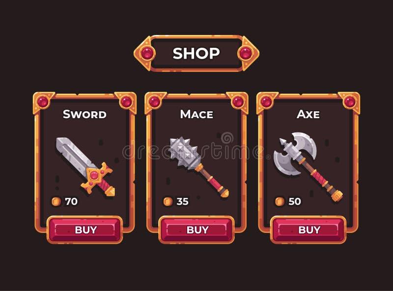 Fantasy game weapon shop concept. Game shop UI frame illustration royalty free illustration