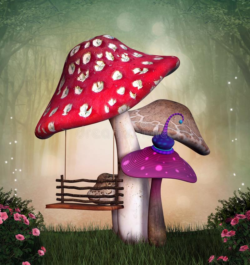Magic swing in the enchanted forest. Fantasy garden with colorful mushrooms and a swing – 3D illustration royalty free illustration