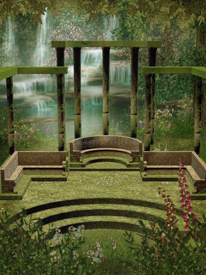 Fantasy garden with columns stock illustration