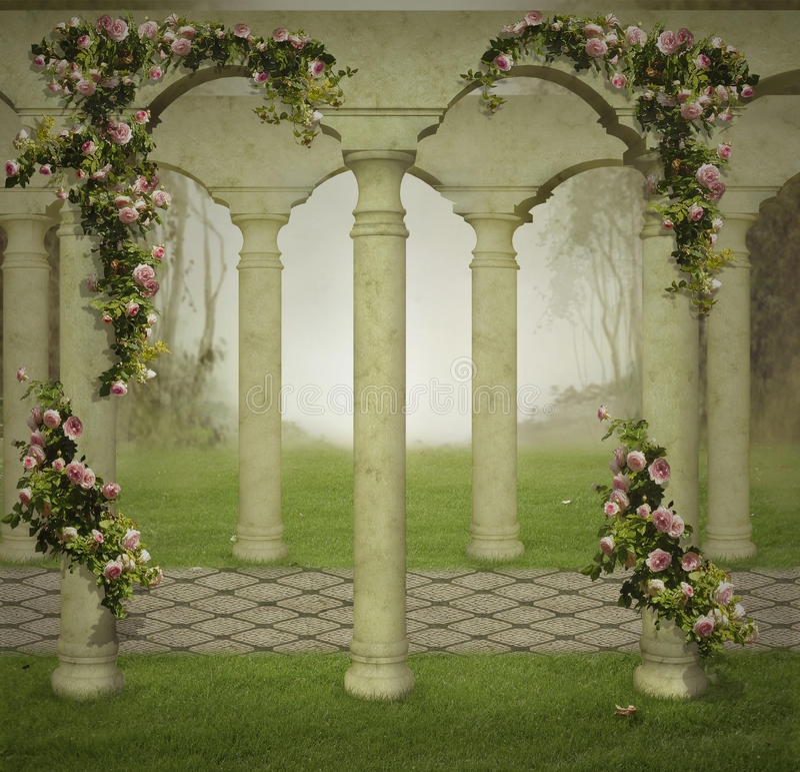 Fantasy garden in the fog royalty free illustration