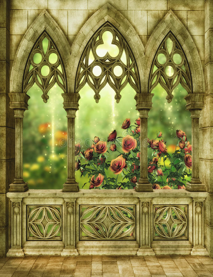 Fantasy garden with roses. Fantasy background with patio and garden 3D illustration stock illustration