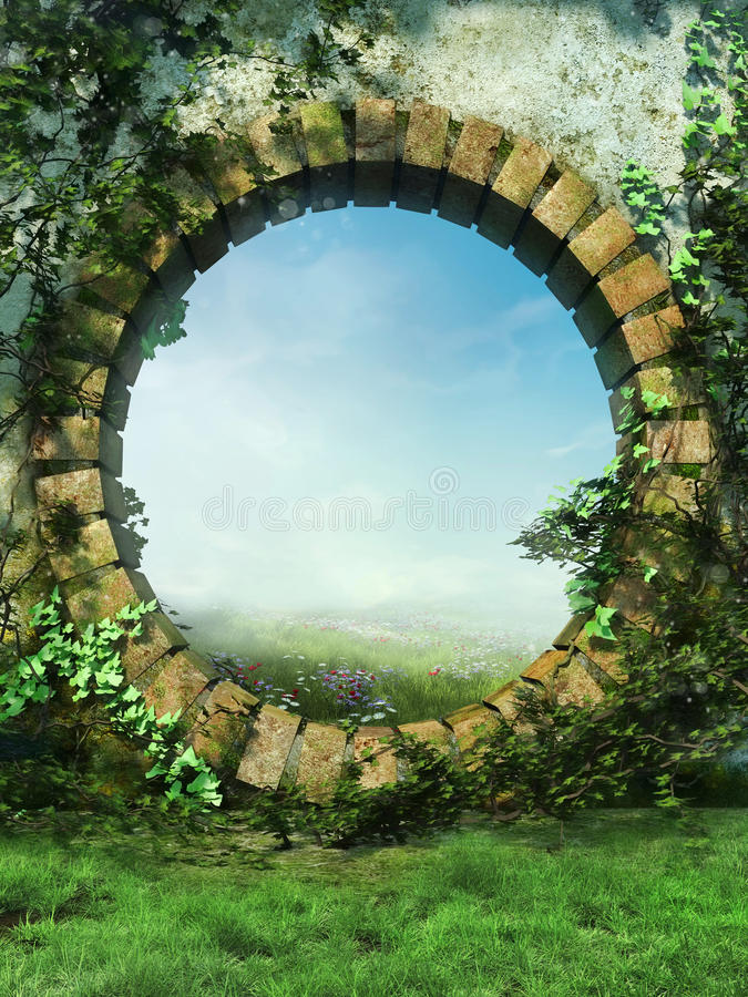 Fantasy garden wall vector illustration