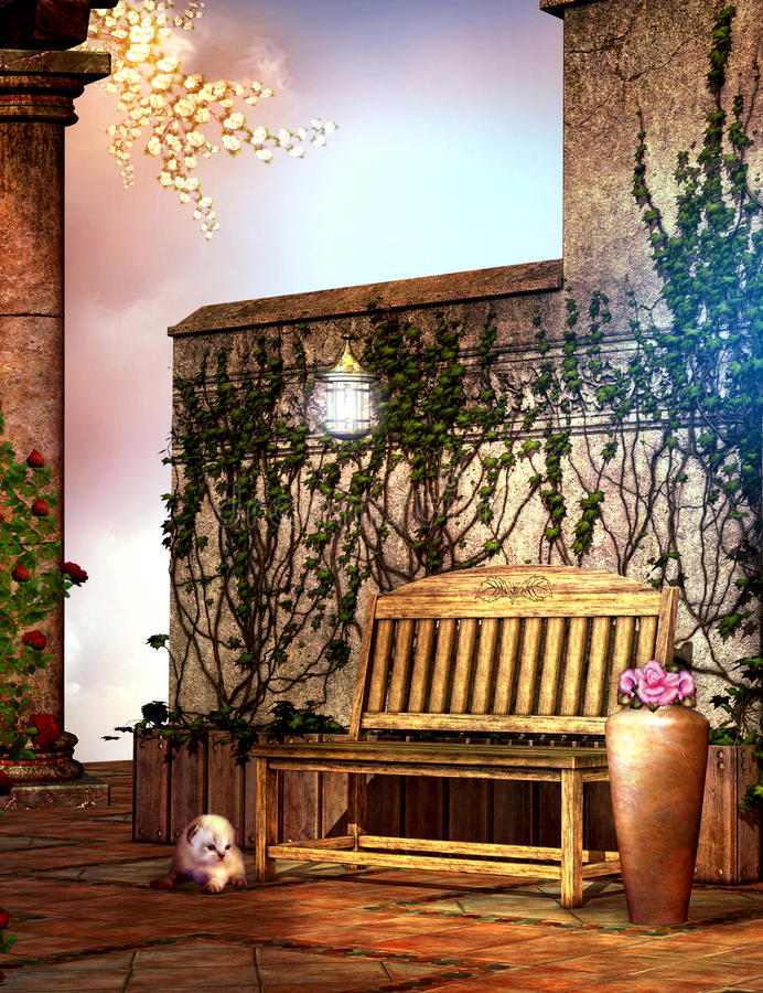 Download Fantasy Garden With A Wooden Bench Stock Illustration - Image: 20096539
