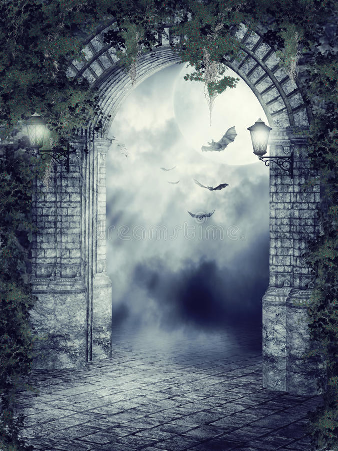 Fantasy gate with bats. Dark fantasy gate with lamps, ivy and bats royalty free illustration