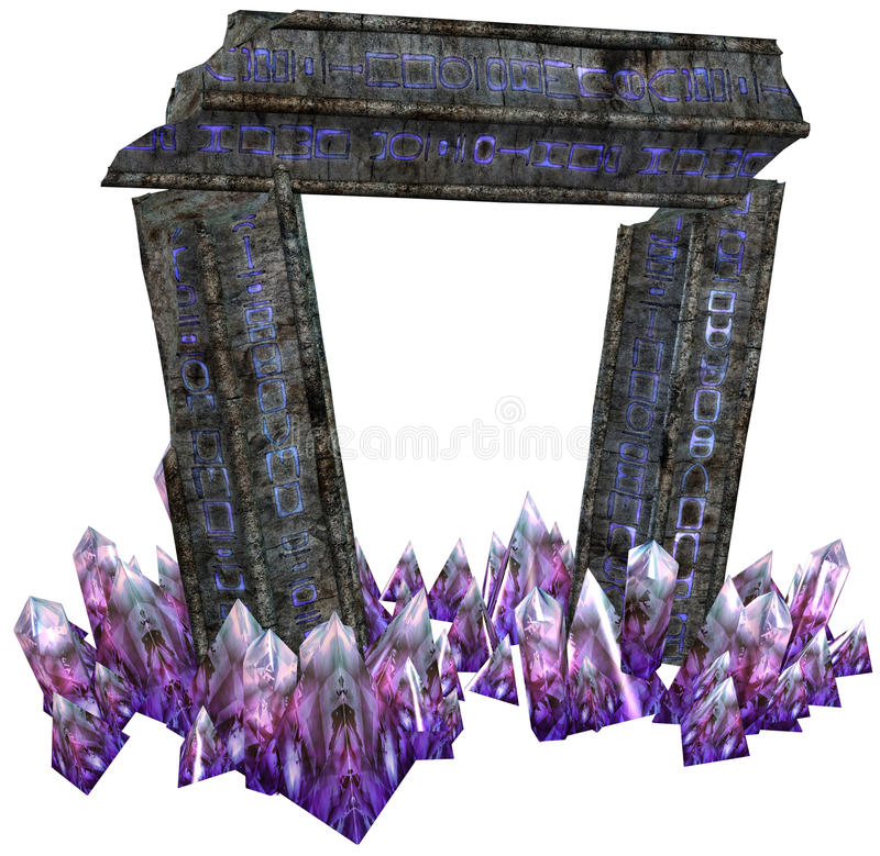 Fantasy gate with crystals. 3D render of a fantasy gate and purple crystals stock illustration