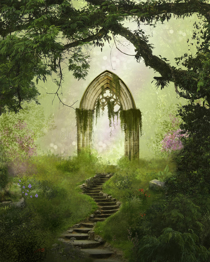 Fantasy gate in the forest stock photography
