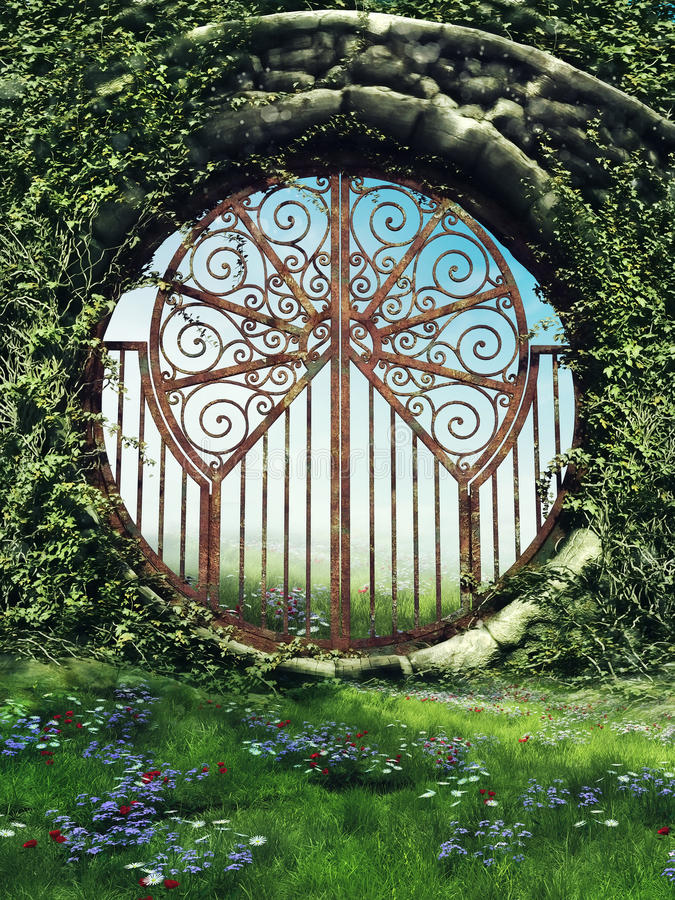 Fantasy gate in a garden. With spring flowers and vines royalty free illustration