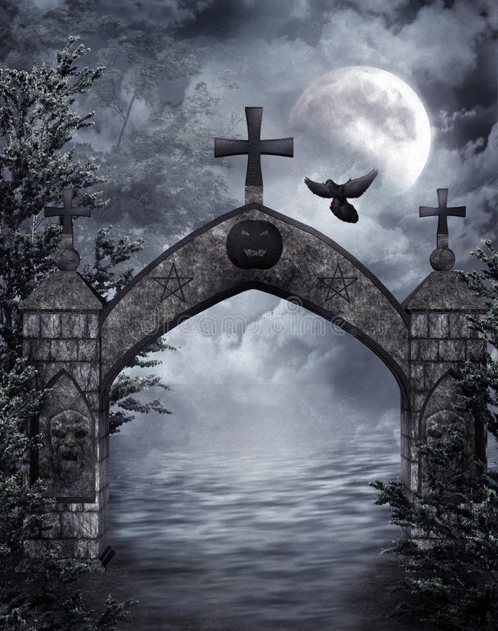 Fantasy gate with a raven royalty free illustration
