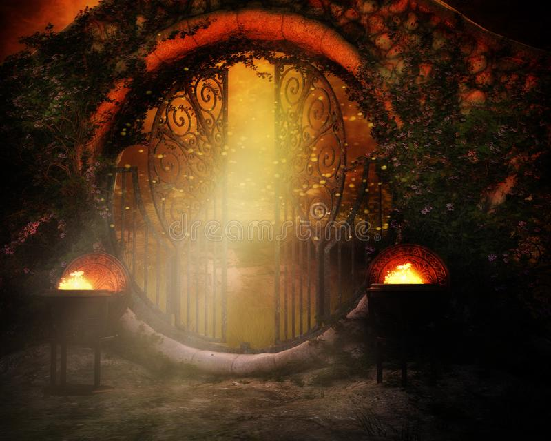 Fantasy gate with two fires. Fantasy background with steel gate, garden and burning fires at night royalty free illustration