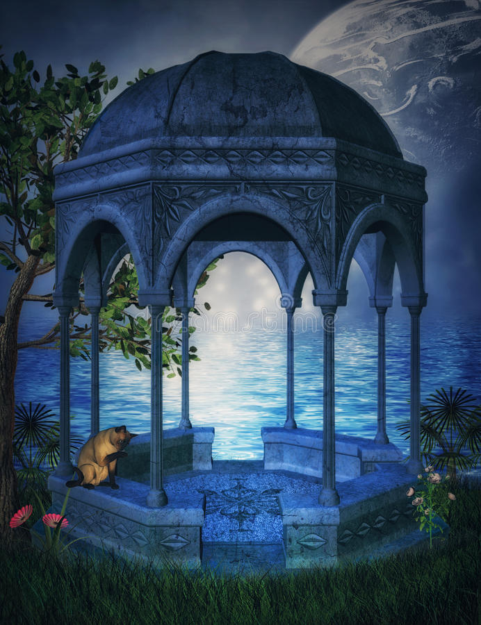 Fantasy gazebo with moon vector illustration
