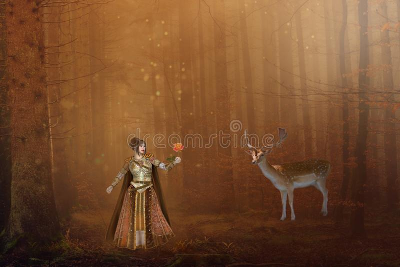 Fantasy girl with deer in magical forest. Fantasy girl offering rose to a stag deer in enchanted autumn toned forest royalty free stock image