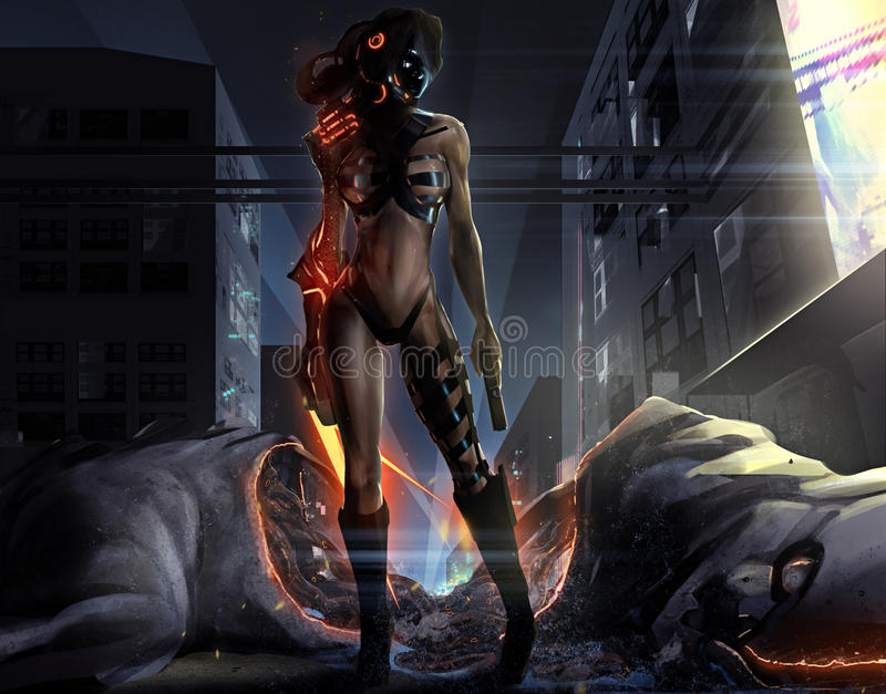 Fantasy girl with monster. Warrior sci-fi woman standing in futuristic suit with gun & fire claws in front a dead monster body illustration royalty free illustration