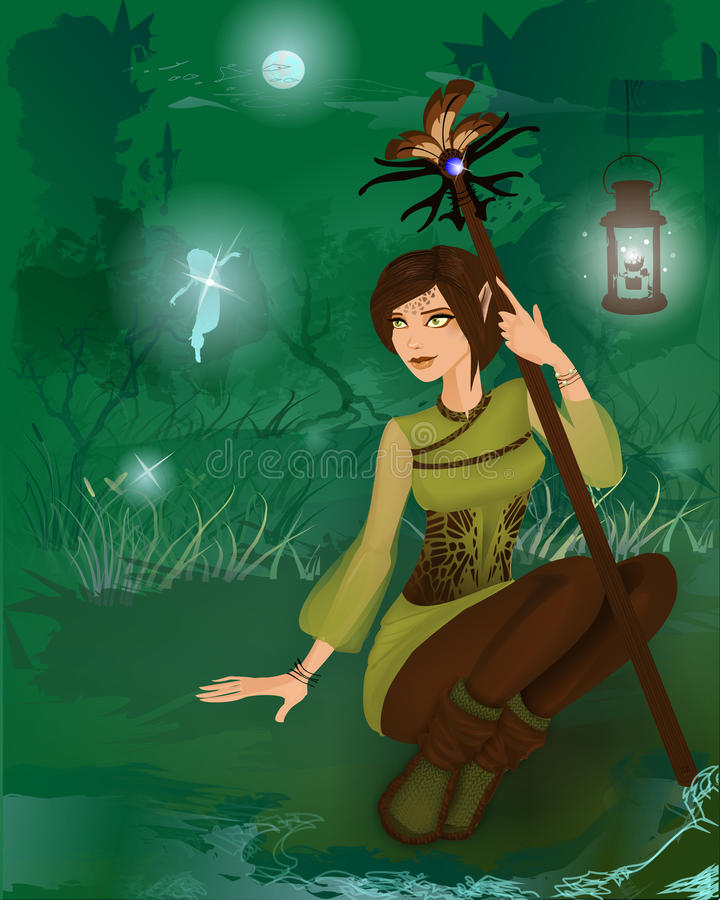 Fantasy girl in night forest with little fairies stock illustration