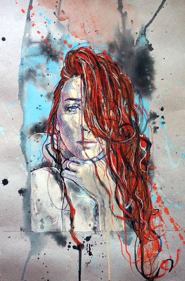 Fantasy girl with red hair inside colorful clouds. Water paint spreading underwater. Fantastic shapes in deep space. Fantasy fashion model inside colorful vector illustration