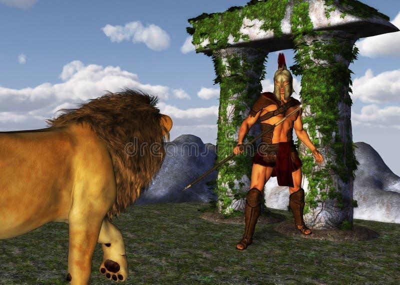 Fantasy Gladiator Warrior Versus Fearless Lion royalty free stock photos