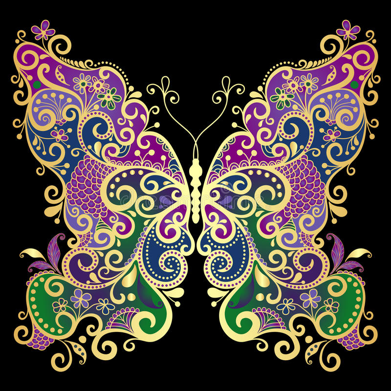 Fantasy gold-colorful butterfly royalty free illustration