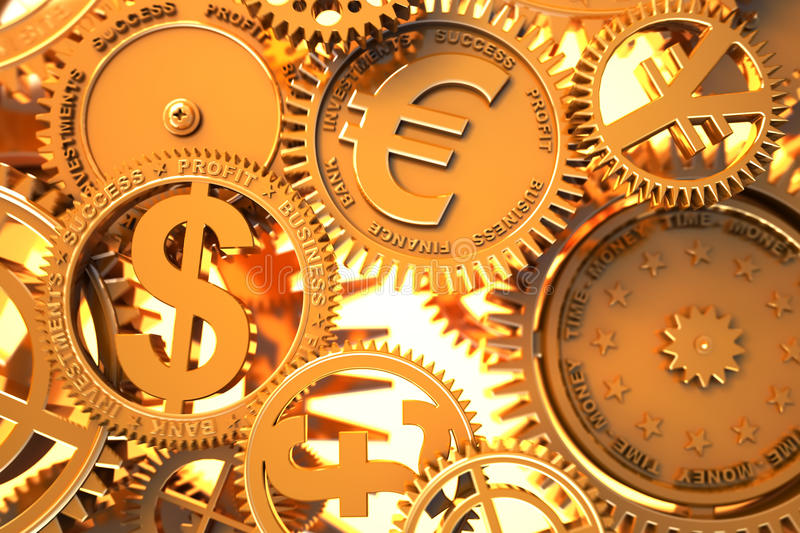 Fantasy golden clockwork with currency sign. Euro , dollar, yen, pound - gears working in global economics vector illustration