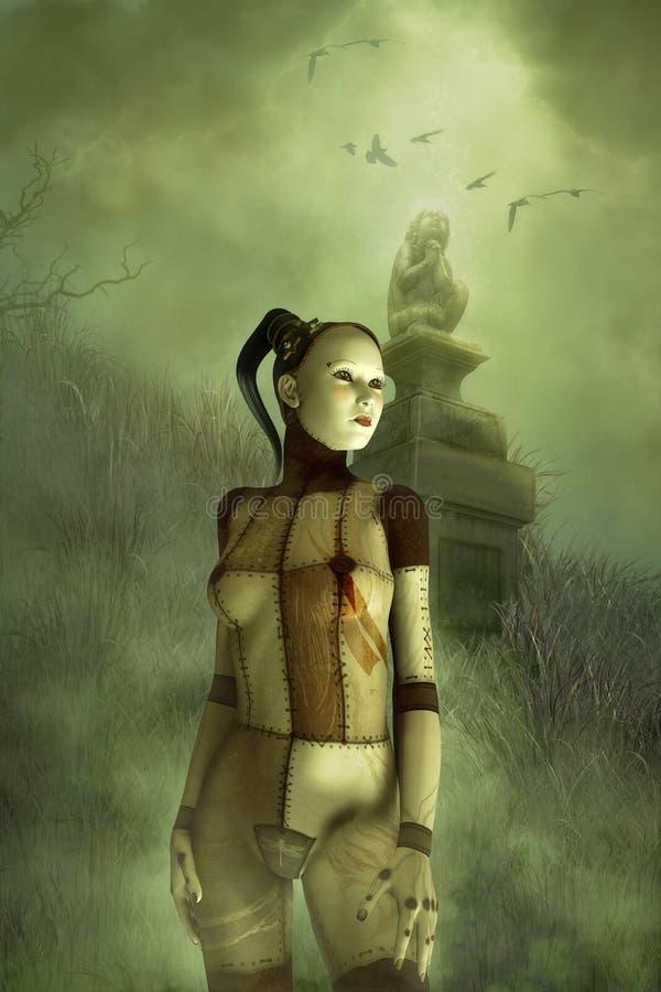 Fantasy gothic puppet girl stock illustration