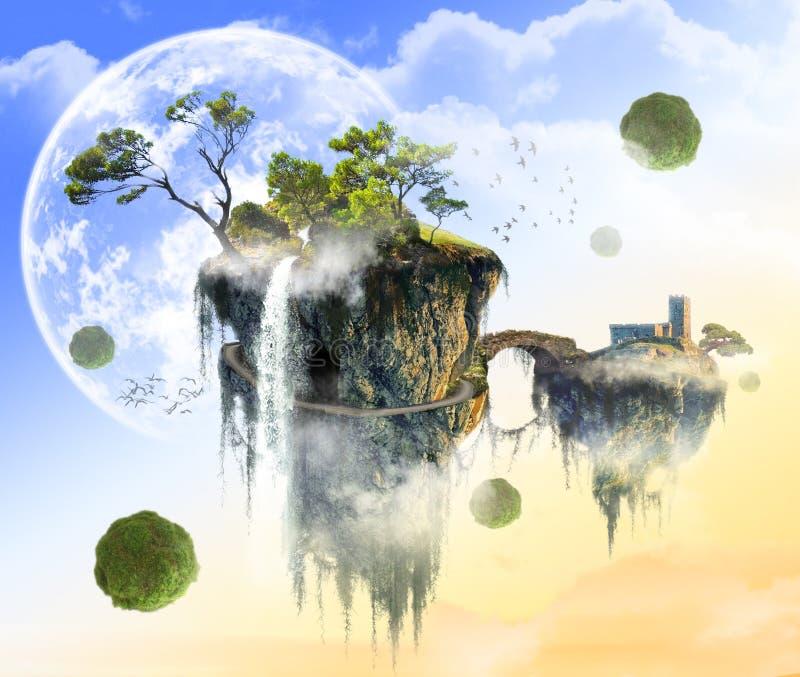 Fantasy green island flying in weightlessness royalty free illustration