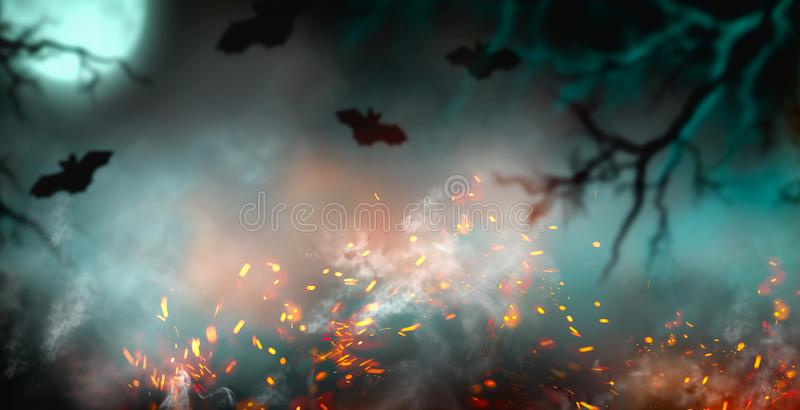 Fantasy Halloween Background. Beautiful dark deep forest backdrop with smoke, fire, vampire bats. Halloween magic holiday collage. Art design, mysterious Frame stock images
