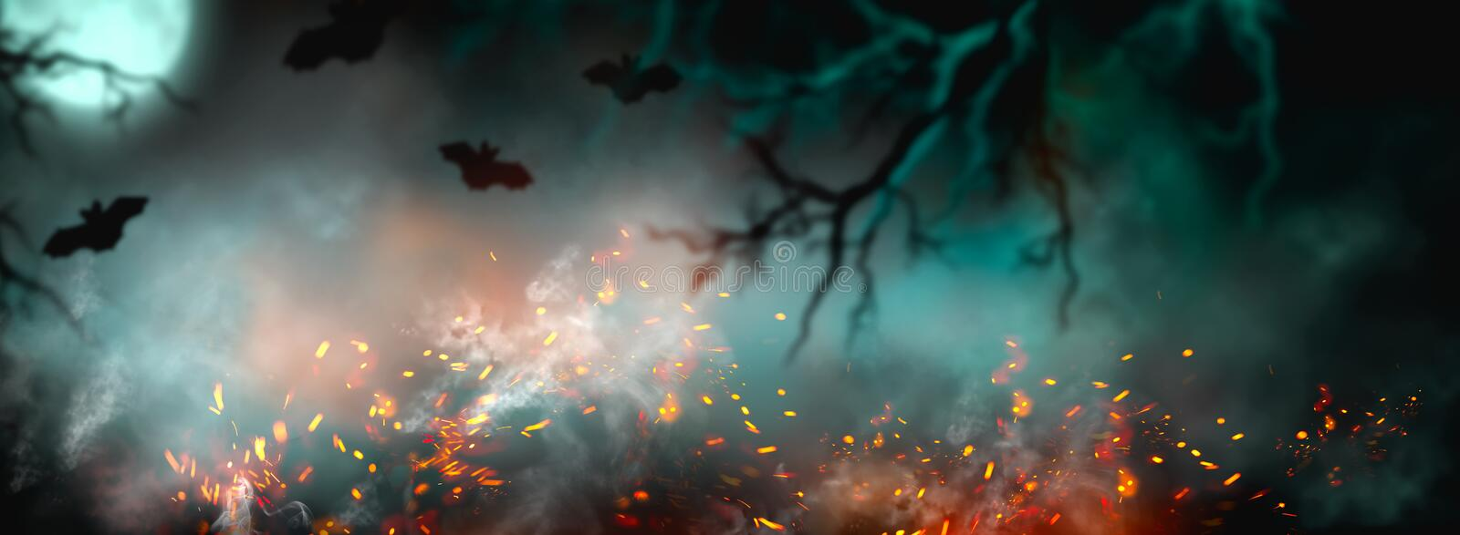 Fantasy Halloween Background. Beautiful dark deep forest backdrop with smoke, fire, vampire bats. Halloween magic holiday collage stock images