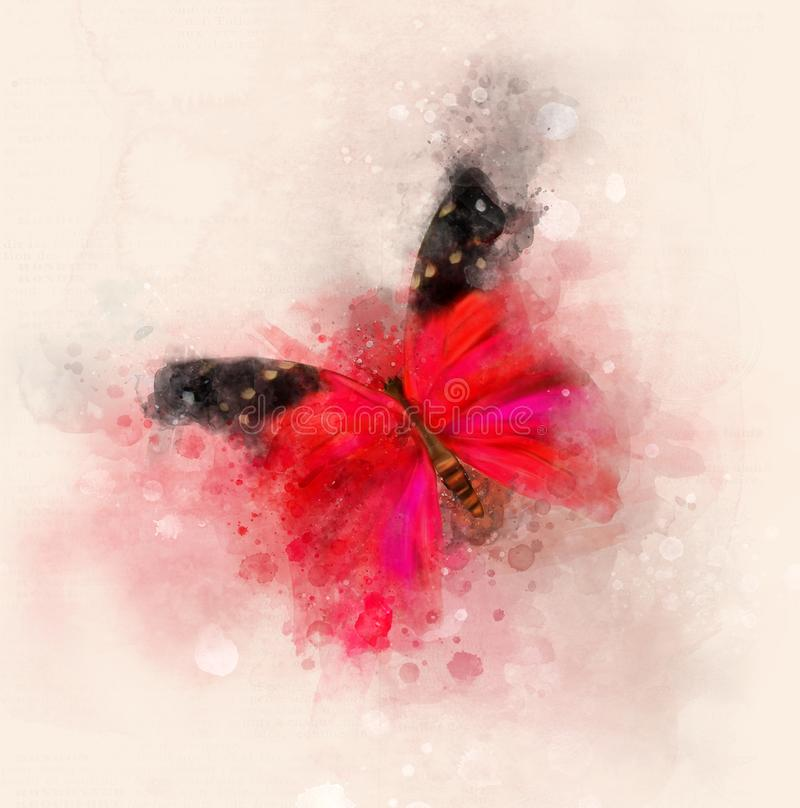 Elegant red butterfly watercolor illustration stock illustration