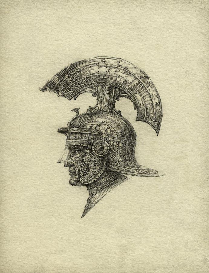 Fantasy Helmet. Fantasy/eclectic helmet with mask. Ink on paper vector illustration