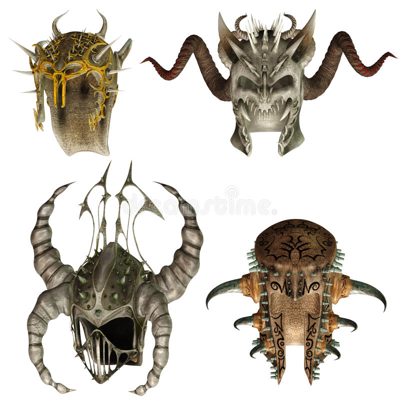 Fantasy helmets 2 stock illustration