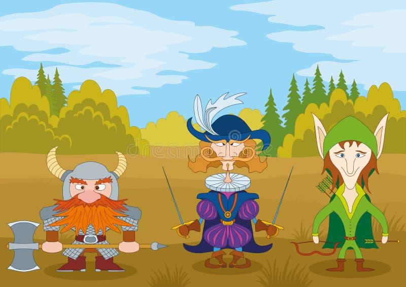 Fantasy heroes in forest vector illustration