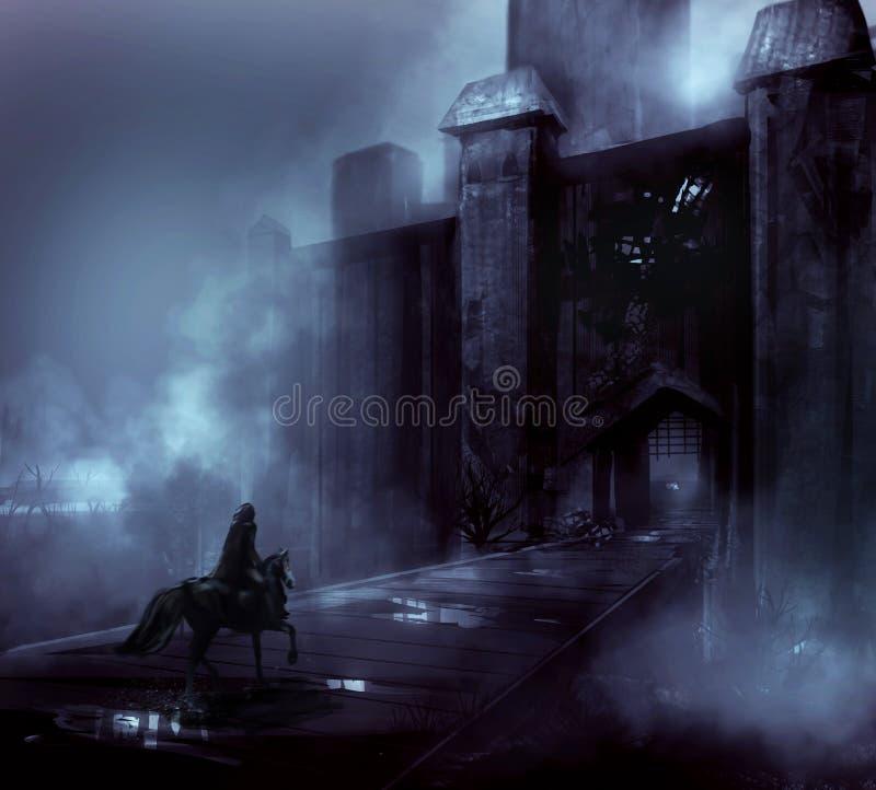 Free Fantasy Horror Night Castle Artwork. Stock Image - 42516851