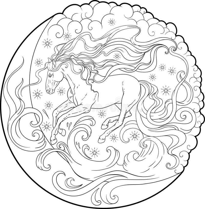 fantasy horse running sky coloring page