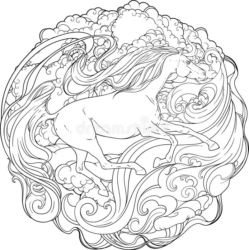 Download Fantasy Horse Running Through The Wind Stock Vector