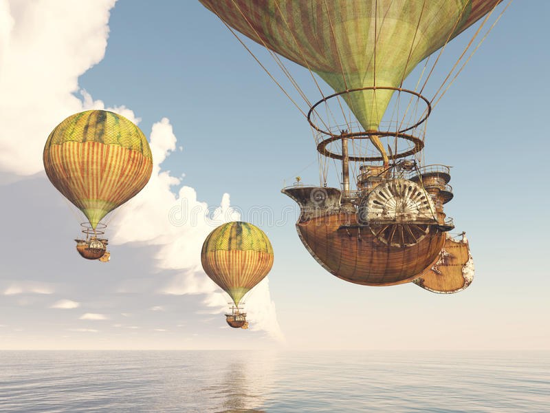 Fantasy Hot Air Balloons. Computer generated 3D illustration with Fantasy Hot Air Balloons royalty free illustration