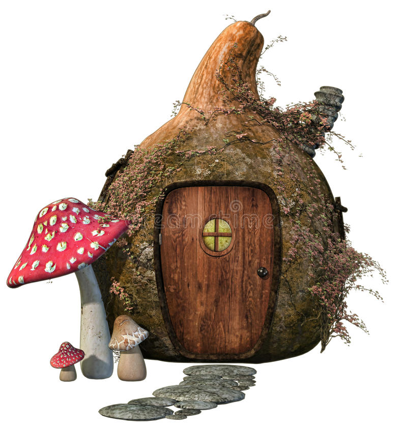 Fantasy house with mushrooms stock illustration