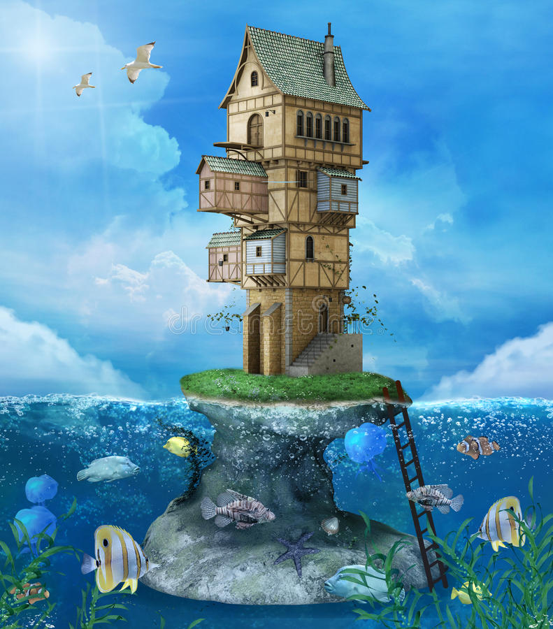Fantasy house on a rock stock illustration