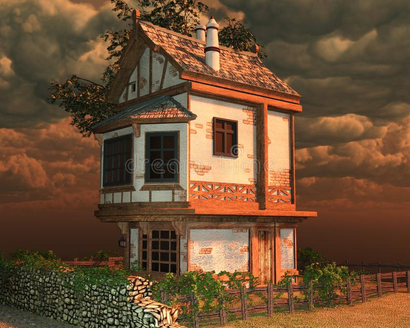 Fantasy house with sky. 3D render of a fantasy house with sunset sky vector illustration