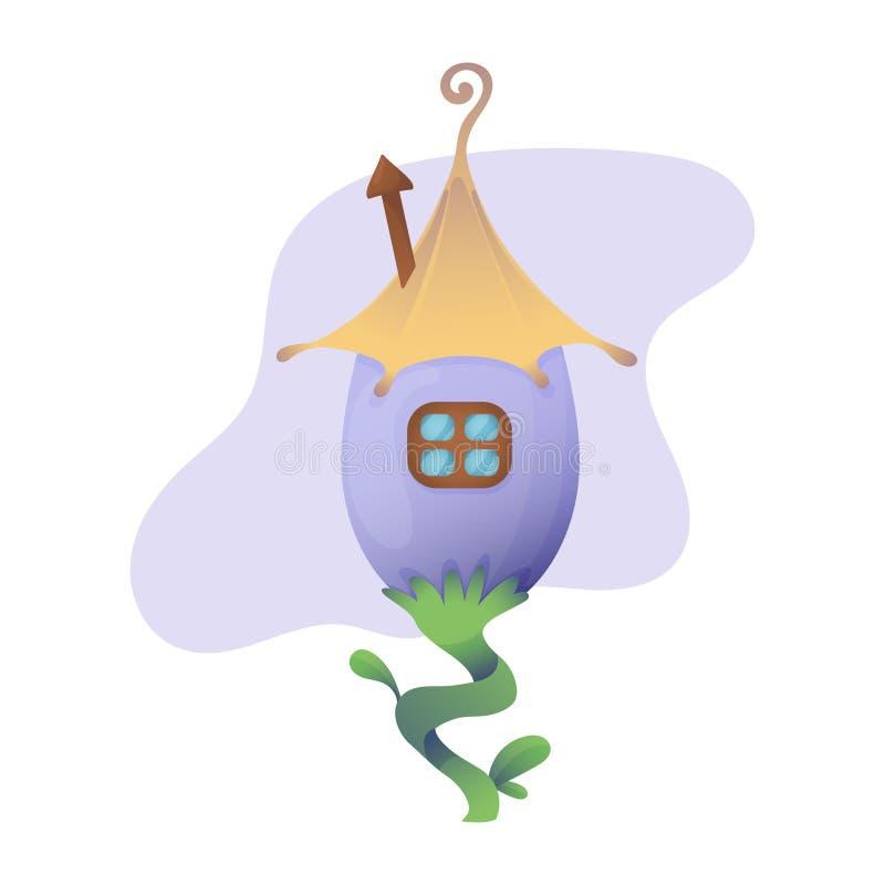 Fantasy house vector cartoon fairy treehouse and housing village illustration set of kids fairytale playhouse isolated vector illustration